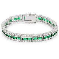 Emerald Tennis Silvertone Bracelet
