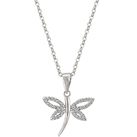 CZ Dragonfly Silvertone Pendant