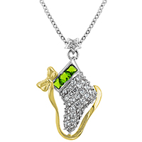 Fireplace Stocking CZ Pendant