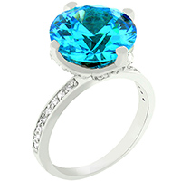 Aqua CZ Royalty Ring