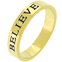 Believe Stamped Goldtone Ring