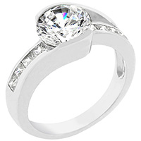 Cinderella Silvertone Engagement Ring