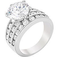 Classic Rhodium Engagement Ring