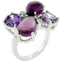 Floral Cocktail Amethyst Ring