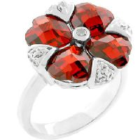 Garnet Artisan Floral Ring