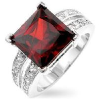 Garnet Princess Cut Ring