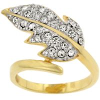 Golden Leaf Crystal Ring