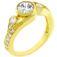 Golden Whirlpool CZ Ring