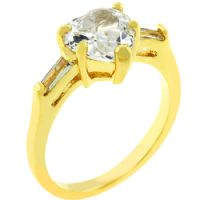 Heart Triplet Goldtone Ring