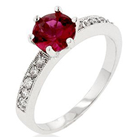 Petite Red Engagement Ring