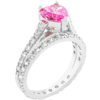 Pink Heart Ring Set