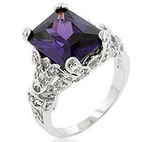 Purple Amethyst Princess Ring
