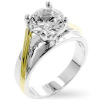 Tutone Solitaire Clear Ring