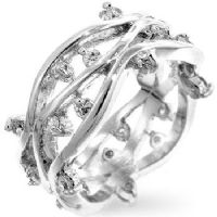 Vines Silver CZ Ring