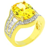 Yellow Sunny Cocktail Ring