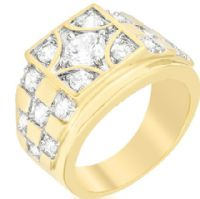 Checkerboard Golden CZ Ring