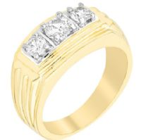 Gold Triplet Men Ring
