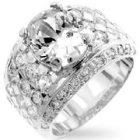 Silver Oval CZ Ring