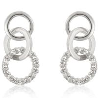 Silvertone Triplet Hooplet Earrings