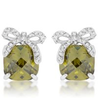 Olivine Drop Bow Earrings