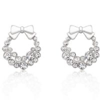 Holiday Wreath Clear Earrings