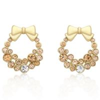 Holiday Wreath Champagne Earrings