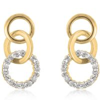 Goldtone Triplet Hooplet Earrings