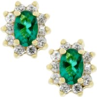 Emerald Flower Stud Earrings