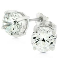 Clear Silver Round Earrings