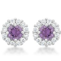 Bella Bridal Earrings Purple