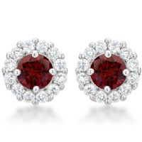 Bella Bridal Earrings Garnet Red