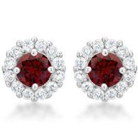Bella Bridal Earrings Garnet Red