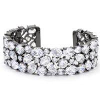 Bejeweled Black Cuff Bracelet
