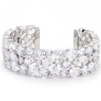 Bejeweled Silver Cuff Bracelet