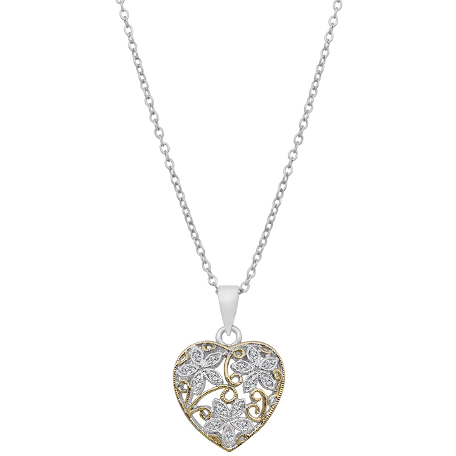 Floral Inspired Heart Pendant