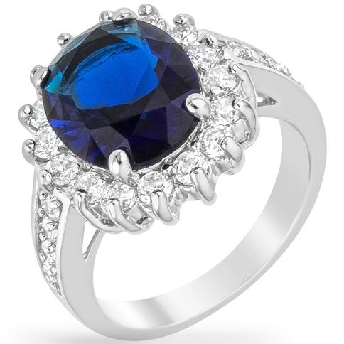 Bleu Elegance Silvertone Ring