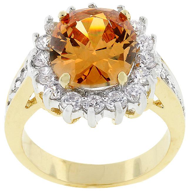 Champagne Elegance Goldtone Ring