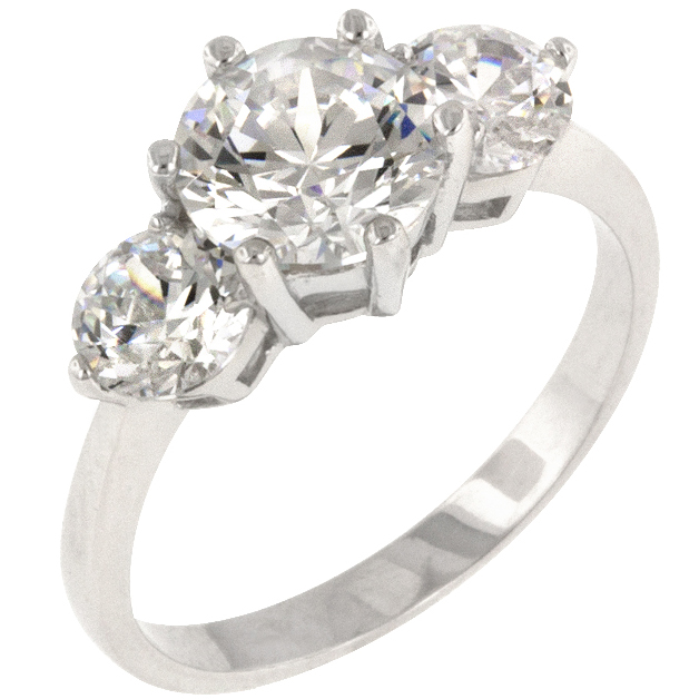Classic Clear Triplet Ring