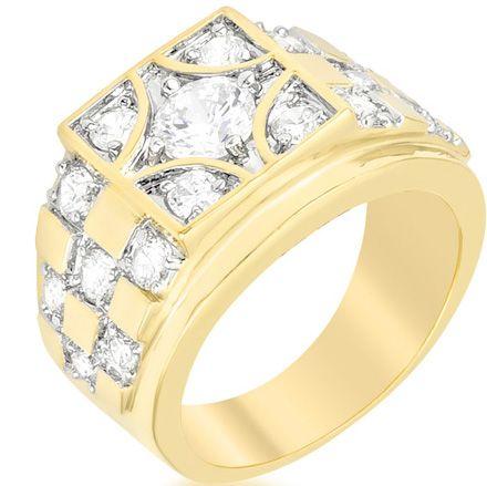 Checkerboard Golden CZ Ring