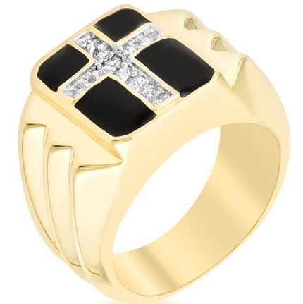Faceted Cross CZ Ring