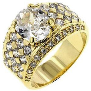 Gold Oval CZ Ring