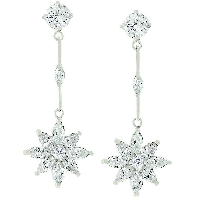 Star Zirconia Drop Earrings
