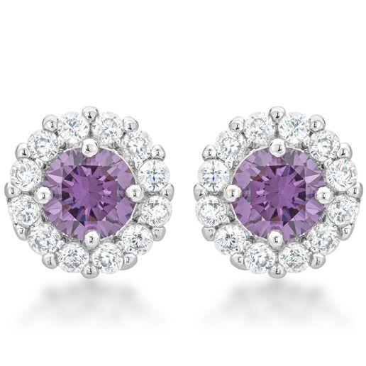 Bella Bridal Earrings Purple