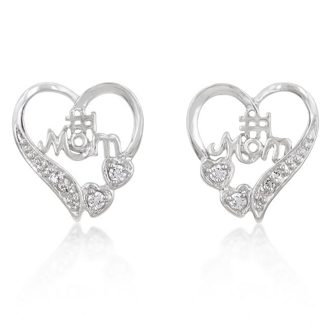 1 Mom Heart Earrings