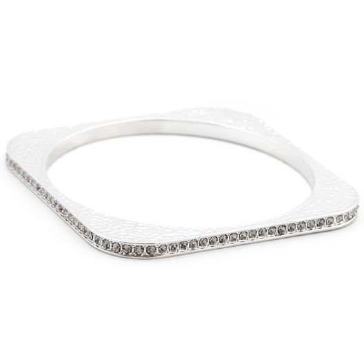 Hammered Zirconia Square Bangle