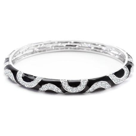 Black Enamel Swirl Bracelet