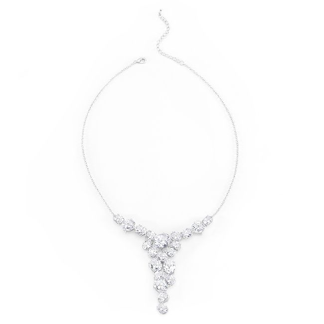 Bejeweled Zirconia Bib Necklace