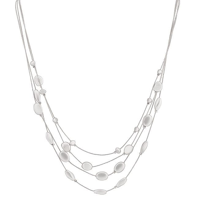 Beaded Silvertone Finish Necklace