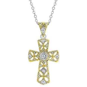 Veiled Cross Tutone Pendant