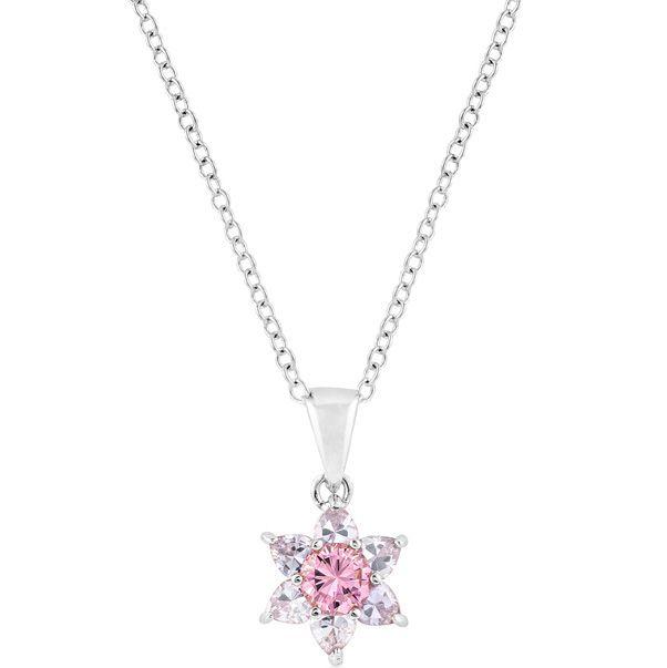 Silvertone Pink Starburst Pendant